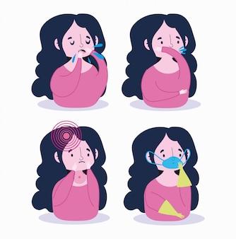 Covid 19コロナウイルスインフォグラフィック、マスク手袋と症状乾いた咳、喉の痛み、息切れの少女