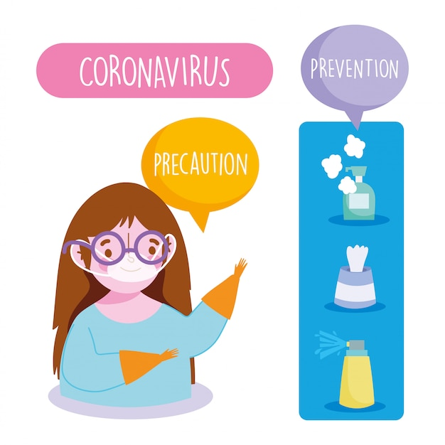 Covid 19 coronavirus infographic, girl with medical mask, prevention spray