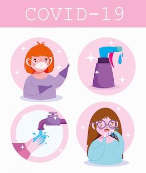 Covid 19コロナウイルスインフォグラフィック、人々の予防のヒント、症状の病気