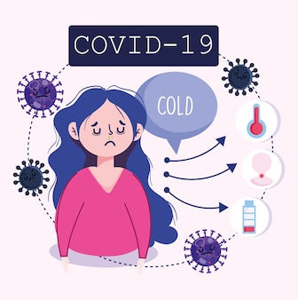 Инфаркт коронавируса 19, симптомы лихорадка, холодная усталость, кашель, иллюстрация