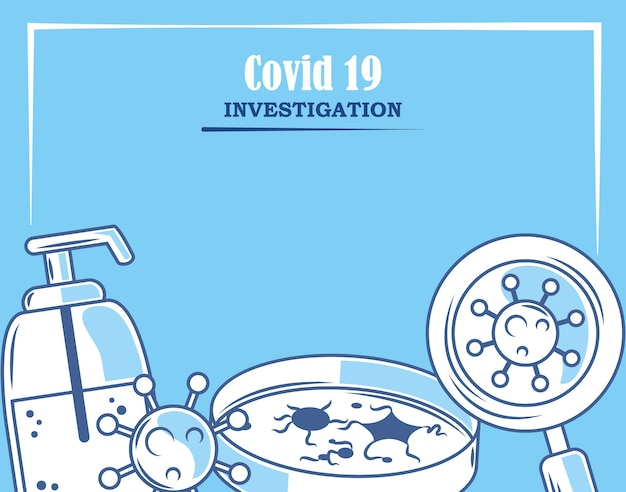 Covid19コロナウイルス調査研究所ペトリ皿分析と研究イラスト