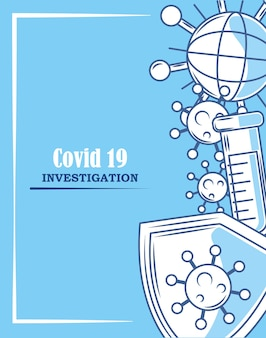 Covid 19 расследование коронавируса щит поиск иллюстрация синий