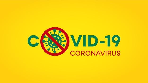 Covid-19コロナウイルスのロゴ。赤い丸で囲まれたコロナウイルス細菌アイコンとcovid-19コロナウイルスに署名