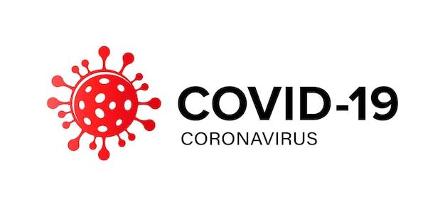 Covid-19コロナウイルスのロゴ。赤いコロナウイルス分子アイコンと署名covid-19とベクトルバナー