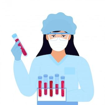 Covid-19(新型コロナウイルス感染症)(#文字数制限がない場合、初出時にかっこ書きを追加。コロナウイルス。医学研究。ウイルスのワクチンを探します。防護マスクと帽子の少女研究所助手が感染した血液の試験管を保持