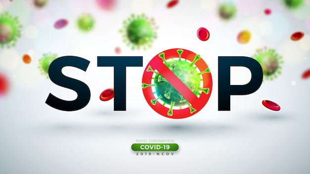 Covid-19. coronavirus outbreak design with falling virus and blood cell in microscopic view on light background. 2019-ncov corona virus illustration on dangerous sars epidemic theme for banner.