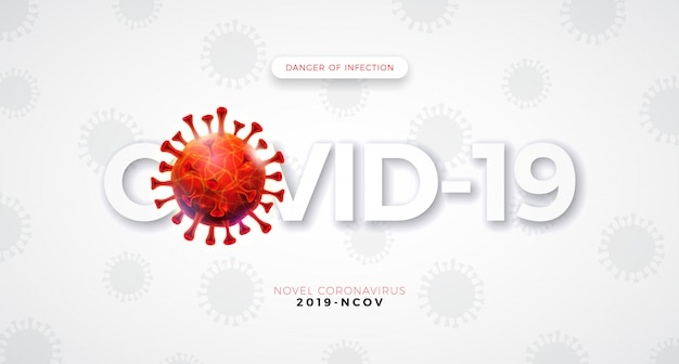 Covid-19. coronavirus outbreak design with falling virus cell and typography letter on light background.   2019-ncov corona virus illustration on dangerous sars epidemic theme for banner.