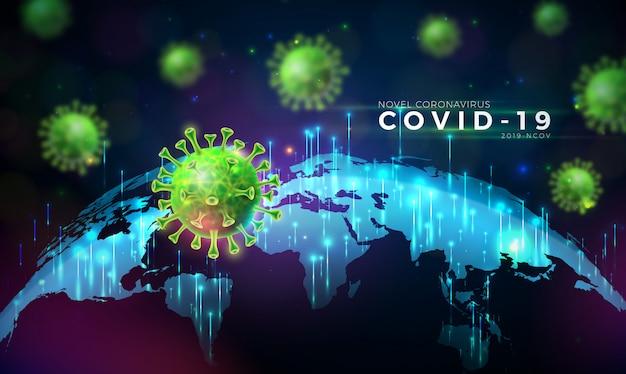 Covid19。世界地図の背景の顕微鏡ビューでのウイルス細胞によるコロナウイルスの発生の設計。