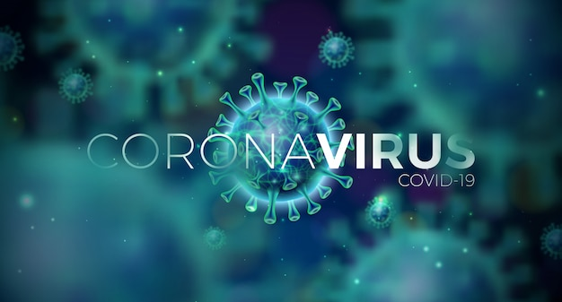 Covid-19. coronavirus outbreak design with virus cell in microscopic view on blue background.  illustration template on dangerous sars epidemic theme for promotional banner or flyer.