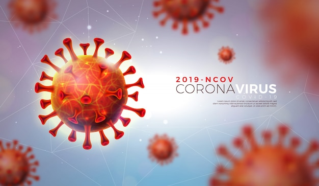 Covid-19. coronavirus outbreak design with virus cell in microscopic view on shiny light background.  2019-ncov illustration template on dangerous sars epidemic theme for promotional banner.