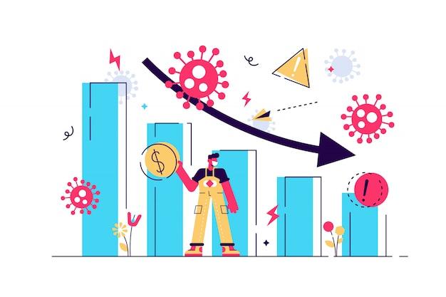 Covid-19 코로나 바이러스 발발 금융 위기 지원 정책, 회사 및 비즈니스 개념, covid-19 바이러스 병원체에서 경제 붕괴에 빠지는 막대 그래프를 밀어 사업 지도자 생존