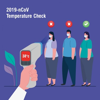 Covid 19 코로나 바이러스, 체온 측정을위한 적외선 온도계로 테스트중인 사람들