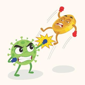 Covid-19コロナウイルスがコインを打ち、世界経済危機を引き起こしました。