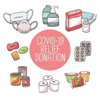 Covid-19 коронавирусная помощь пожертвование милая иллюстрация