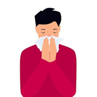 Covid-19(新型コロナウイルス感染症。コロナウイルス症状。その少年はナプキンの後ろで咳をしている。鼻水が出る。