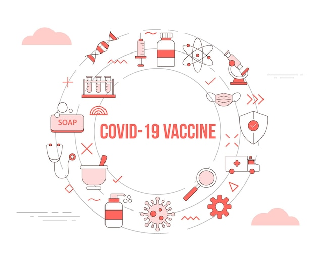 Covid-19 coronavirus vaccine concept with icon set template banner with modern orange color style and circle round shape illustration