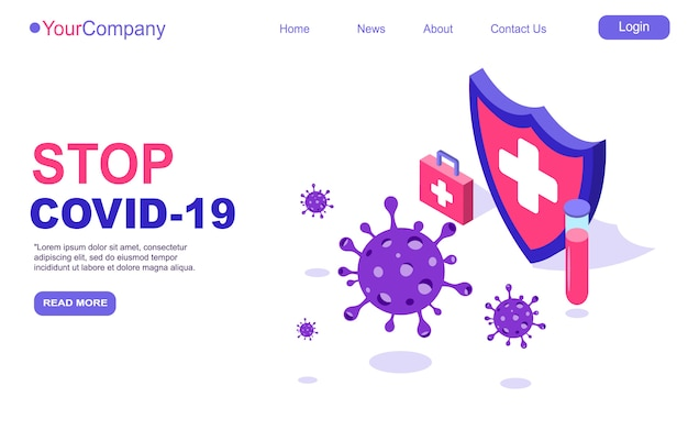 Covid-19コロナウイルスウイルス株シールドは、ワクチンチューブのランディングページテンプレートまたはホームページを保護します。コロナウイルスからの隔離。パンデミックcovid-19の発生。等角投影図