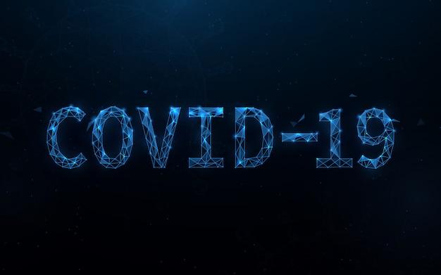Covid-19 coronavirus концепция типография дизайн формы линии, треугольники и стиль дизайна частиц