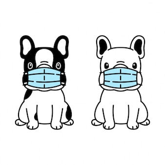Собака французский бульдог маска для лица covid-19 coronavirus мультфильм значок
