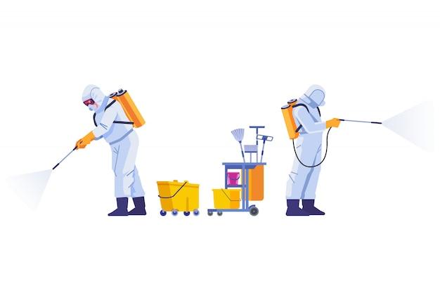 Covid-19コロナウイルス消毒。消毒作業員は、パンデミックコロナウイルスまたはcovid-19スプレーに対する防護マスクと宇宙服を着用します。漫画スタイルのイラスト分離背景