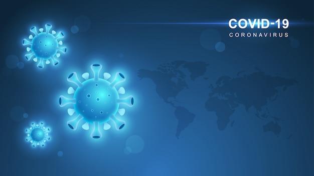 Коронавирус covid-19. вспышка коронавируса и фон гриппа коронавирусов. covid-19 вирус. вирусная атака на землю. иллюстрация.