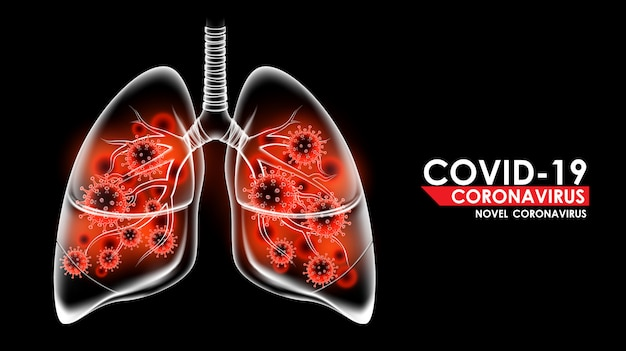Коронавирусная болезнь covid-19 инфекционная медицинская в легких человека и копирование пространства. новое официальное название для коронавирусной болезни под названием covid-19, иллюстрация фона пандемического риска