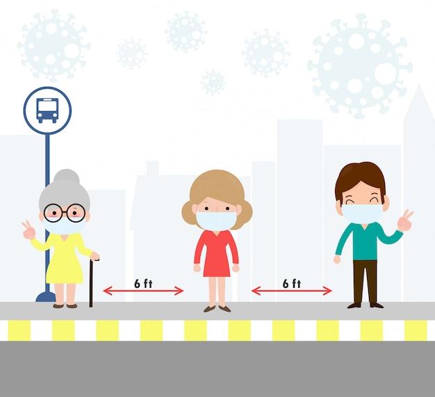 コロナウイルスまたはcovid-19の間にバス停で医療用マスクを着用している人々との社会的距離の概念。新しい通常のライフスタイルの発生。 covid-19の病気の拡大を避けてください。図。