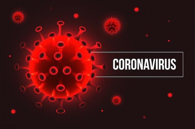 Covid-19新規コロナウイルス呼吸器インフルエンザcovidウイルス細胞。暗い背景に赤いウイルスのシルエット。図