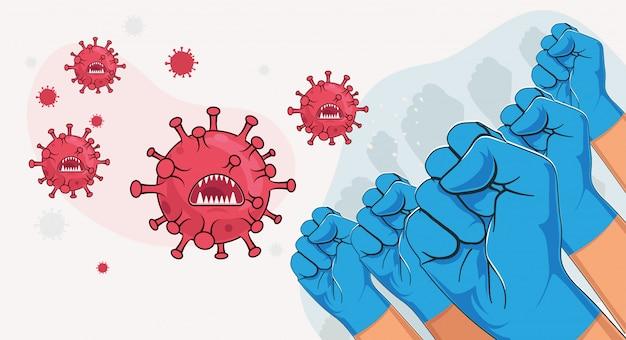 Covid-19コロナウイルスの概念と戦います。ウイルスの微生物と戦う青い医療グローブの調達の腕のグループ。 covidを停止します。漫画スタイルのイラスト。