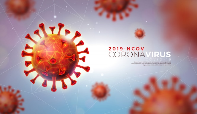 Covid-19。光沢のある明るい背景に顕微鏡ビューでウイルス細胞とコロナウイルスの発生設計。プロモーションバナーのdangerous sars epidemic themeの2019-ncovイラストテンプレート。