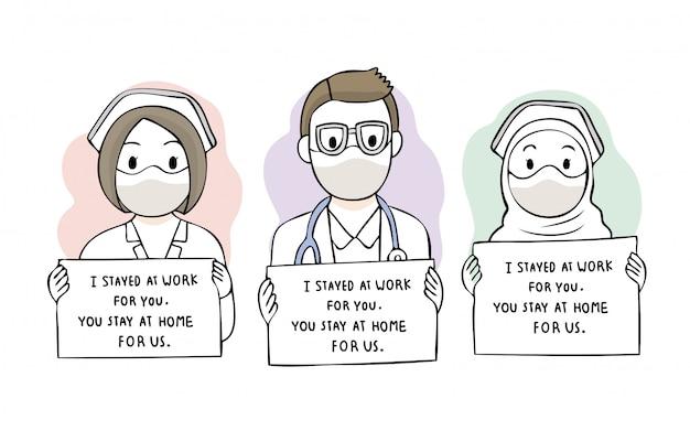 漫画のかわいいコロナウイルス、covid-19、docter and staff hospital