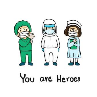 Медицинская команда в стилях рисования рук. врач и медсестра в защитных костюмах и масках сражаются за covid-19. doodle персонаж.