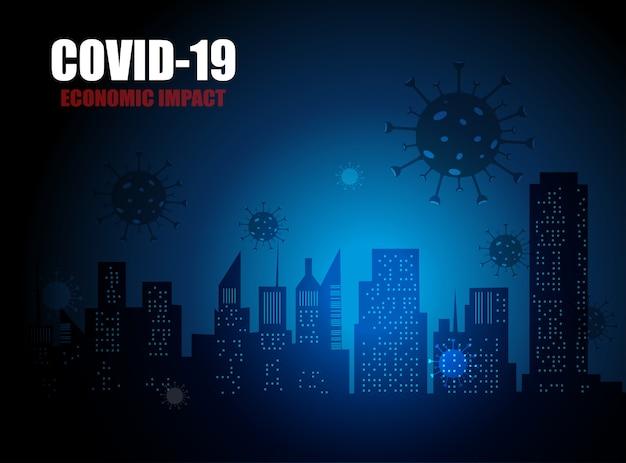 Covid-19経済とビジネスへの経済的影響、コロナウイルスによって引き起こされた株式市場の暴落を表すグラフ