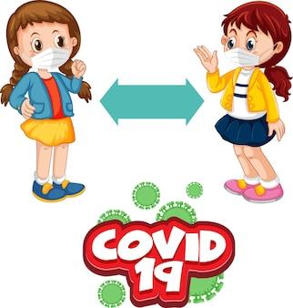 Carattere covid-19 in stile cartone animato con due bambini che mantengono la distanza sociale isolata su sfondo bianco
