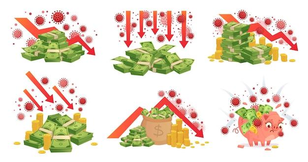 Covid-19 глобальный экономический кризис. набор иллюстраций финансовых последствий пандемии.