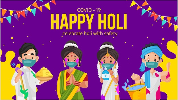 Covid 19 happy holi celebrate holi with safety banner design