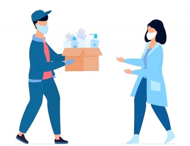 Covid-19. гуманитарная помощь. поставка медицинских защитных масок, перчаток и дезинфицирующих средств. коронавирус эпидемия. волонтер дает посылку медсестре