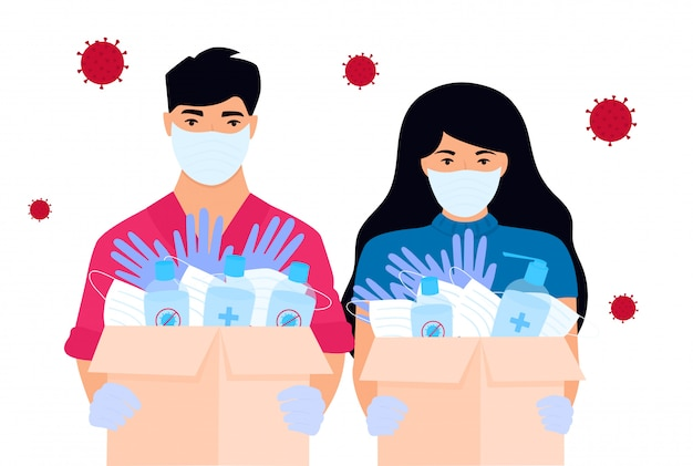 Covid-19. гуманитарная помощь. добровольцы доставляют медицинские защитные маски, перчатки и дезинфицирующие средства. коронавирус эпидемия.