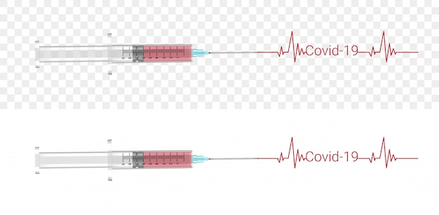 Covid-19注射。コロナウイルス血現実的な透明なプラスチックまたはガラスの図。ヘルスケアと医療の概念設計