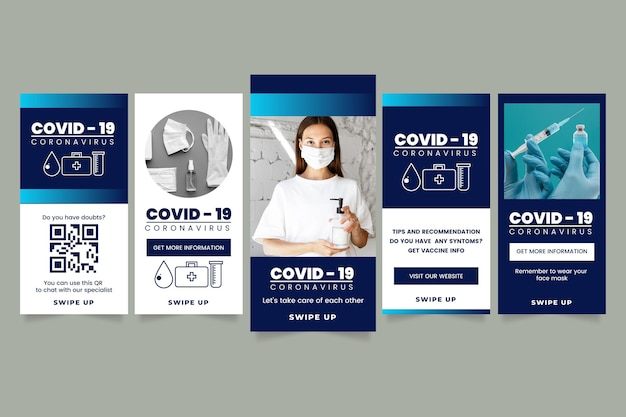 Covid19インスタグラムストーリーコレクション 無料ベクター
