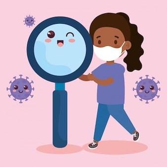 Милая девушка афро носить медицинскую маску, чтобы предотвратить коронавирус covid 19 со школьной сумкой и увеличительное стекло kawaii иллюстрации