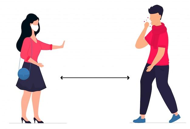 코로나 바이러스 감염증 -19 : 코로나 19. 거리를 두다. 한 남자가 코로나 바이러스에 감염된 기침. 여자는 중지 제스처를 보여줍니다. 예방 조치. 자신을 보호하다