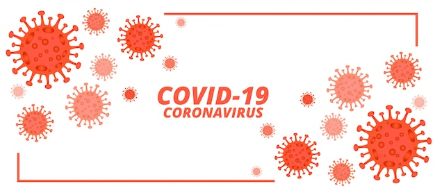 Covid-19 novel coronavirus banner with microscopic viruses