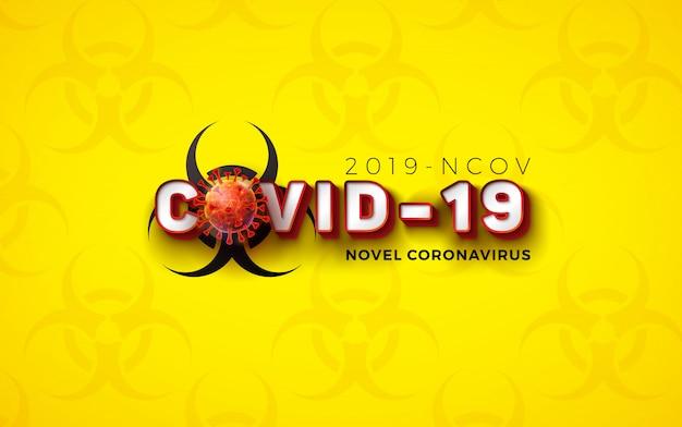Covid19。ウイルス細胞と生物学的危険シンボルを使用した新しいコロナウイルスコンセプトデザイン