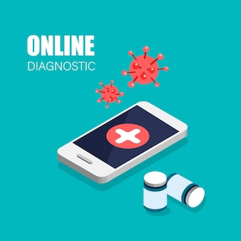Covid-19 online diagnostics virus. doctor in your smartphone.  isometric web banner for landing page.