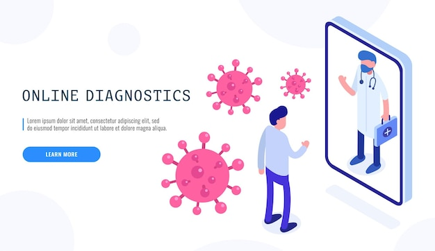 Covid-19 online diagnostics virus. male patient and doctor. pandemic covid-19 coronavirus. isometric web banner for landing page. vector illustration.