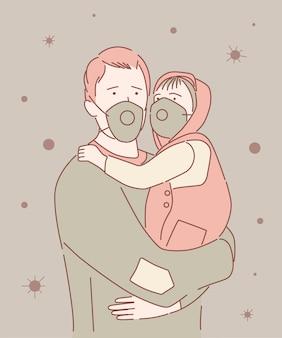 Covid-19パンデミックコロナウイルス男と市の通りで赤ちゃんが病気の拡大を防ぐフェイスマスクを着用