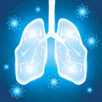 Covid 19 particelle con polmoni sullo sfondo della campagna