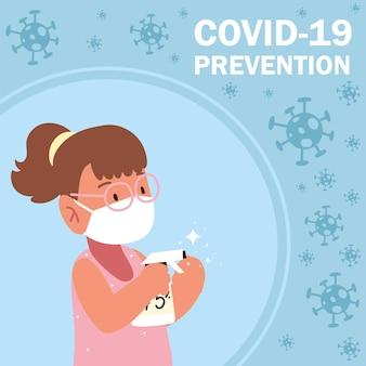 Covid 19 예방 소녀 마스크 및 소독제 스프레이