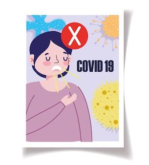 Covid 19予防、口を手の漫画でカバーしない